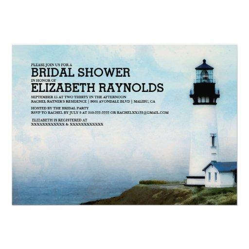 Elegante Leuchtturm-Brautparty-Einladungen