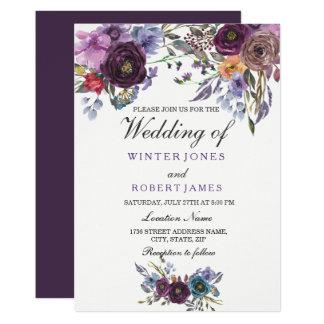 Elegante lila Blumenwinter-Hochzeits-Einladung Karte
