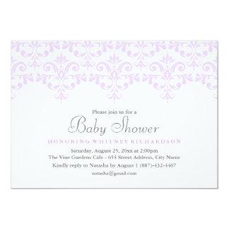 Elegante lila Damast-Baby-Duschen-Einladung Karte