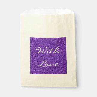 Elegante lila Glitter-Blick-Beschaffenheit Geschenktütchen