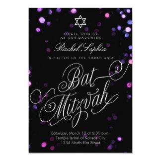 Elegante lila Licht-Schläger Mizvah Einladungen