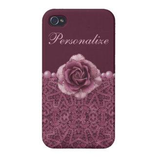 Elegante lila Rose, Spitze u. Perlen iPhone 4 Schutzhüllen