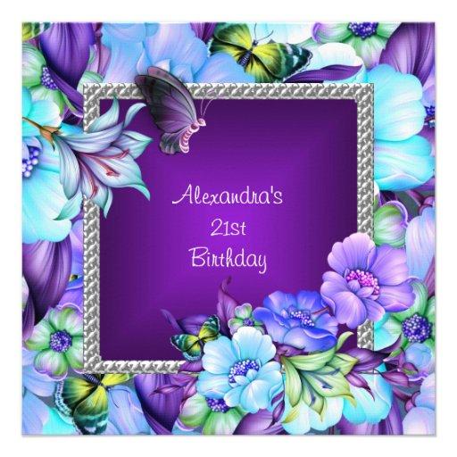Einladungskarten Zum 75 Geburtstag Elegant Frei Einladung: Elegante Lila Silberne Juwel-Blumen-21. Geburtstag