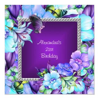 Elegante lila silberne Juwel-Blumen-21. Geburtstag Quadratische 13,3 Cm Einladungskarte