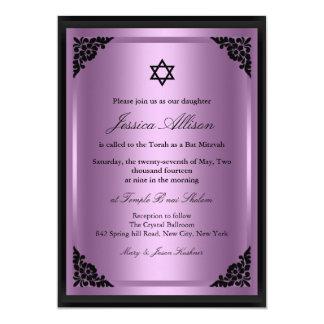 Elegante lila u. schwarze Schläger Mitzvah 12,7 X 17,8 Cm Einladungskarte