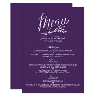 Elegante lila und weiße Hochzeits-Menü-Vorlagen Karte