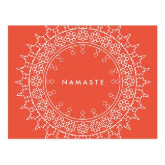 Elegante Mandala Namaste Yoga-Korallen-Postkarte Postkarte