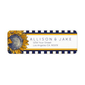 Elegante Marine-Sonnenblume-Adressen-Etiketten