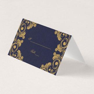 Elegante Marine-u. Goldhochzeits-Tabellen-Karte Platzkarte