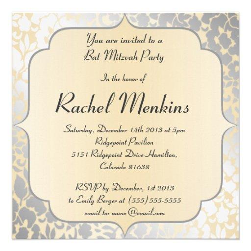 Elegante metallische beige Schläger Mitzvah Personalisierte Ankündigungskarten