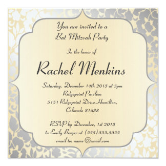 Elegante metallische beige Schläger Mitzvah Quadratische 13,3 Cm Einladungskarte