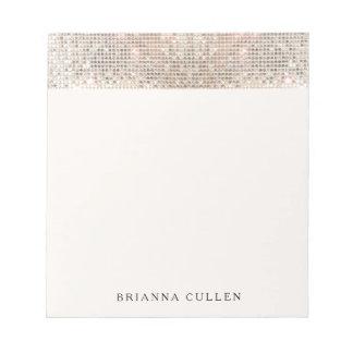 Elegante moderne modische silberne Paillette Notizblock