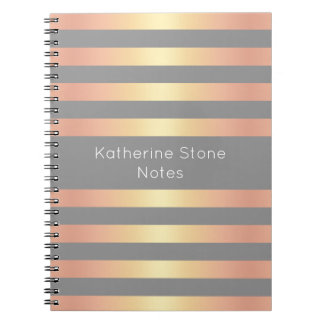 Elegante moderne Rosen-Goldsteigung Stripes Grau Notizblock