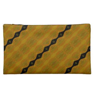 Elegante moderne Streifen-Schwarz-Goldolive Makeup-Tasche