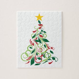 Elegante moderne Weihnachtsbaum Illustration Puzzle