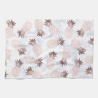 elegante moderne weiße MarmorRosengoldananas Handtuch