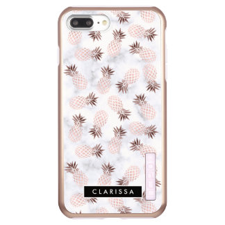 elegante moderne weiße MarmorRosengoldananas Incipio DualPro Shine iPhone 8 Plus/7 Plus Hülle