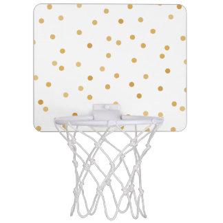 Elegante moderne weißes Goldconfetti-Punkte Mini Basketball Ring
