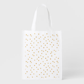 Elegante moderne Weißund Goldconfetti-Punkte Wiederverwendbare Einkaufstasche
