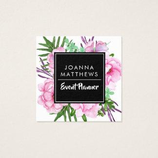 Elegante modische rosa quadratische mit quadratische visitenkarte