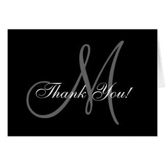 Elegante Monogramm-Hochzeit danken Ihnen zu Mitteilungskarte