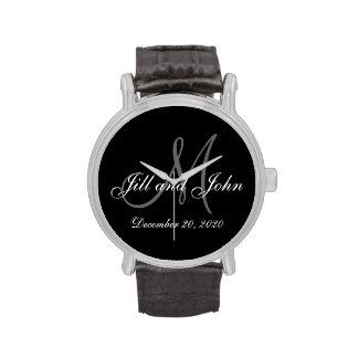 Elegante Monogramm-Hochzeit Uhren