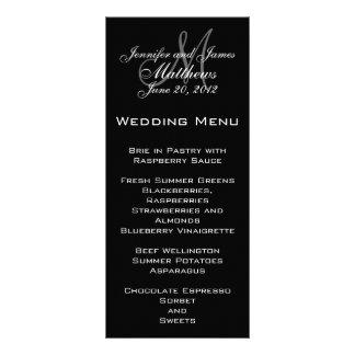 Elegante Monogramm-Hochzeits-Menü-Karten Werbekarte