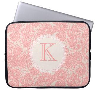 Elegante Monogramm-Paisley-Designer-Laptop-Tasche Computer Sleeve Schutzhülle