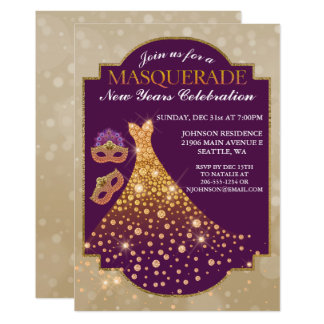 Elegante neue Jahre Maskerade-Einladungs- Karte