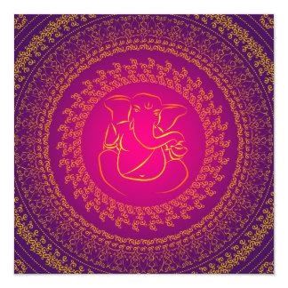 Elegante noble Ganesh indische Hochzeits-Einladung Quadratische 13,3 Cm Einladungskarte