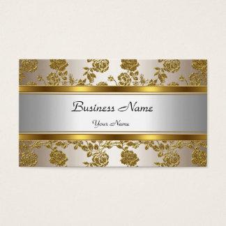 Elegante noble Goldcreme mit Blumen Visitenkarten