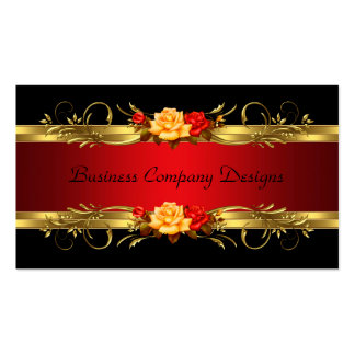 Elegante noble Goldschwarz-Rote Rosen Visitenkarten