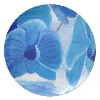 Elegante noble hoch entwickelte Freude der blauen Melaminteller