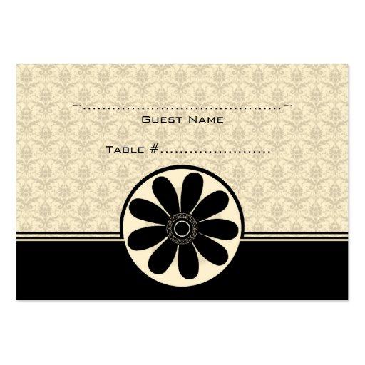 Elegante Onyx-Damast-Hochzeits-Sitzplatz-Karte Mini-Visitenkarten