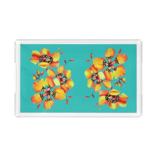 Elegante orange Blumen - Aqua Acryl Tablett