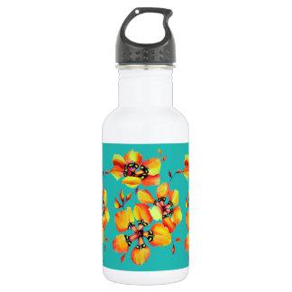 Elegante orange Blumen - Aqua Edelstahlflasche