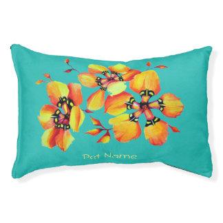 Elegante orange Blumen - Aqua Haustierbett