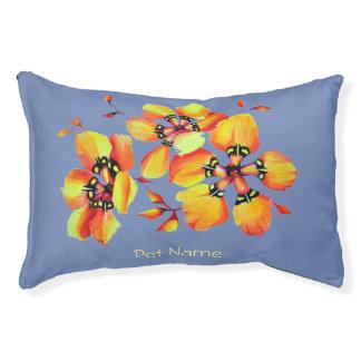 Elegante orange Blumen - blaues Grau Haustierbett