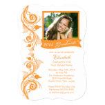 Elegante orange Foto-Abschluss-Party Einladung