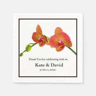 Elegante orange Wedding Orchideen oder Serviette