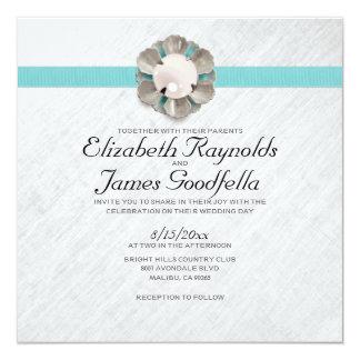 Elegante Perlen-Hochzeits-Einladungen Quadratische 13,3 Cm Einladungskarte