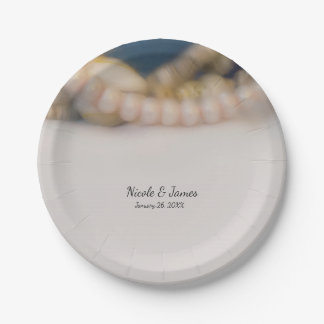 Elegante Perlen u. Muscheln-Strand-Hochzeit Pappteller