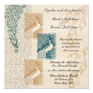 Elegante Pfaus, die Einladung Wedding sind Quadratische 13,3 Cm Einladungskarte