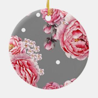 Elegante Pfingstrosen mit Blumen Keramik Ornament