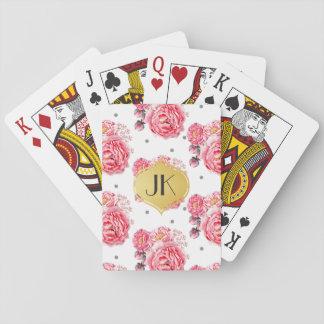 Elegante Pfingstrosen mit Blumen Spielkarten