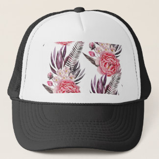 Elegante Pfingstrosen mit Blumen Truckerkappe