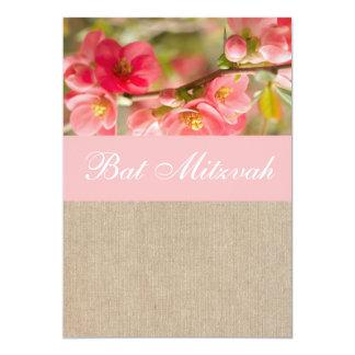 Elegante Pfirsich-Blumen-Leinwand-Schläger Mitzvah 12,7 X 17,8 Cm Einladungskarte