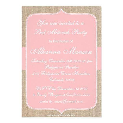 Elegante Pfirsich-Blumen-Leinwand-Schläger Mitzvah Ankündigungskarte
