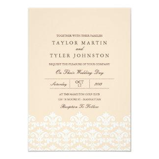 Elegante Pfirsich-Damast-Hochzeits-Einladung Karte