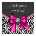 Elegante Pink-Schwarz-Damast-Prinzessin Babyparty Individuelle Einladungen